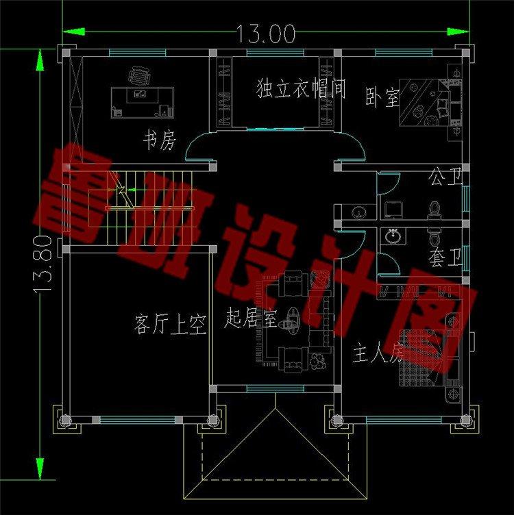 新款三层欧式复式别墅设计图二层平面图
