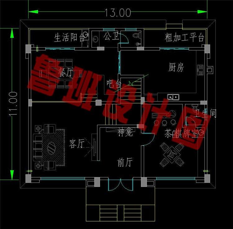新中式三层美宅一层平面图