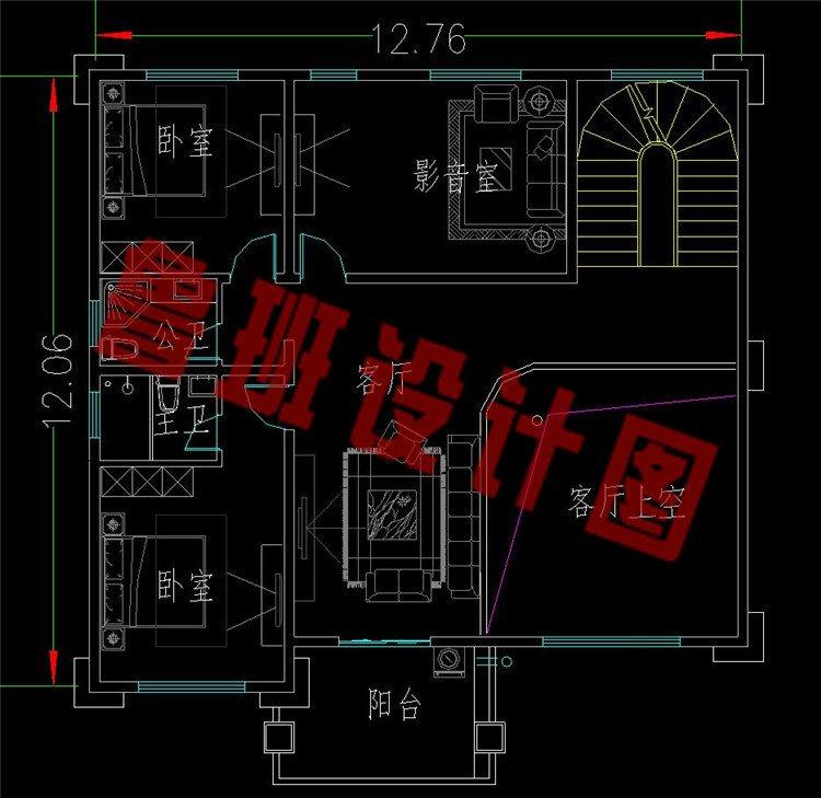 带堂屋三层新中式农村别墅二层平面图