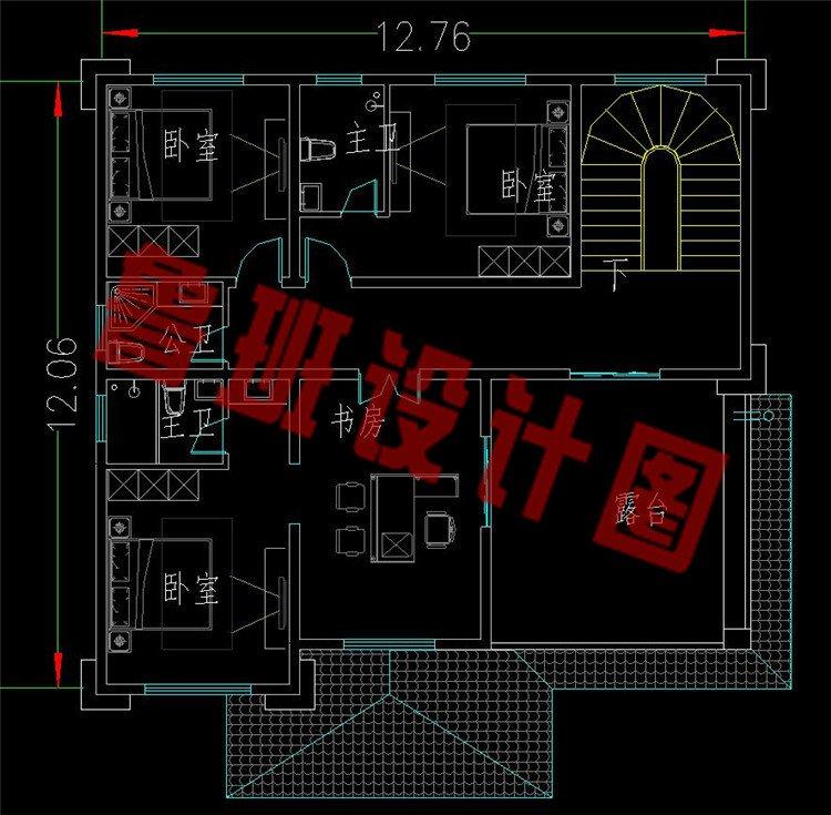带堂屋三层新中式农村别墅三层平面图