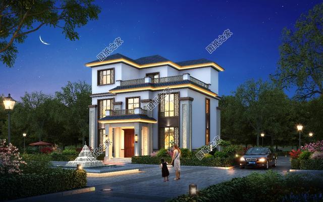 现代农村建设中式三层别墅,推荐这8款,带堂屋有飘窗的都有