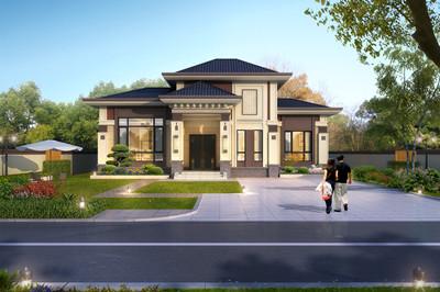欧式一层半别墅设计图,带阳光房设计,屋顶错落有致