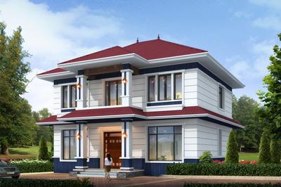 现代精致农村二层自建房楼房设计图,面宽12米