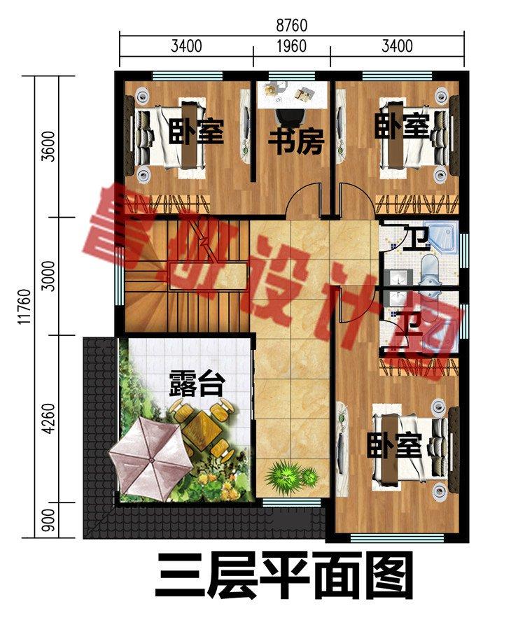 8.76米×11.76米三层新中式小别墅
